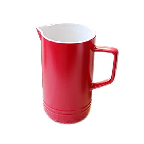 YIFEI2013-SHOP Jarra de Agua 33.8 oz Jarra de cerámica Retro con Mango Jarra de Leche de Multicolor con Tetera doméstica Horquillero Hot/FRÍO Agua Agua Hermosa Y PRÁCTICA Jarras (Color : Red)