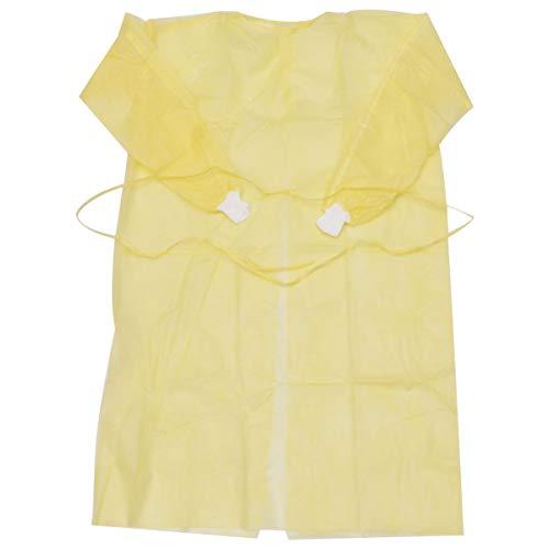 PRETYZOOM Batas Desechables para Adultos Batas Protectoras con Mangas Largas Cuello Y Cintura Corbatas Batas de Examen Amarillo