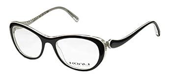Koali 7058k Womens/Ladies Rxable Durable Designer Full-rim Eyeglasses/Eyeglass Frame  49-16-135 Black / White / Clear