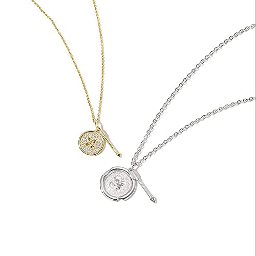 DZX Colgante Collar de Pareja de botón de Plata de Ley 925, Collar de clavícula con Colgante de Marca Redonda, Cadena de joyería de Regalo de San Valentín (Plata para Hombres)