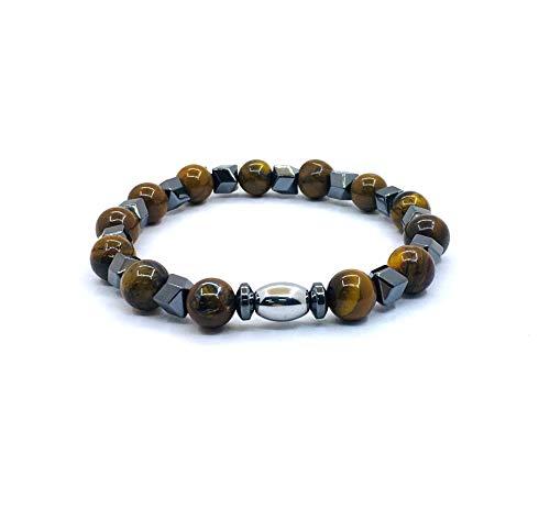 Pulsera de perlas de piedra natural, 8 mm, con ojo de tigre y perlas de hematita, para familia y amigos, mujer y hombre