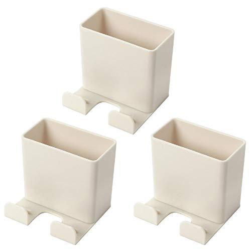AODOOR 3 cajas de almacenamiento con mando a distancia, organizador de pared ABS, organizador de pared, organizador para teléfono móvil, oficina, mando a distancia de aire acondicionado (albaricoque)