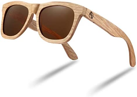 Wood Sunglasses Polarized Bamboo Wooden Sunglasses Men Women in Engraved Box brown product image