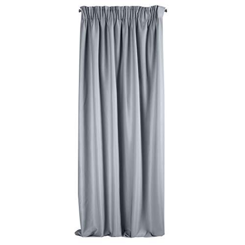 Eurofirany Essme - Tenda lucida arricciata per camera da letto e soggiorno, 140 x 270 cm, colore: Argento