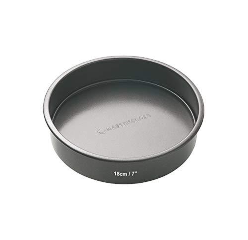 MasterClass Non-Stick -  Molde Redondo Base Suelta, Acero, Negro, 18 cm
