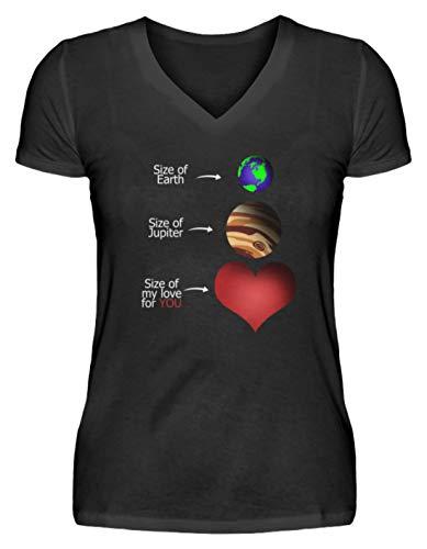 Size of Earth, Jupiter and My Love for You - Camiseta de Cuello de Pico para Mujer Negro M