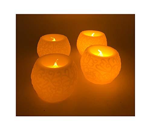 CT 12er-Set flammenlose LED Kerzen Kugelform Ø 6cm aus echtem Wachs elfenbeinweiss