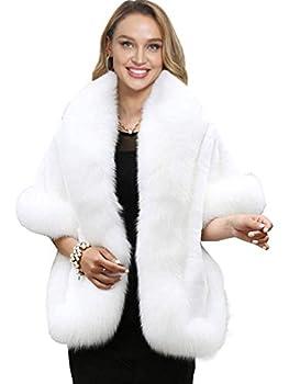 Caracilia Women s Faux Fur Coat Wedding Cape Shawl for Evening Party bai