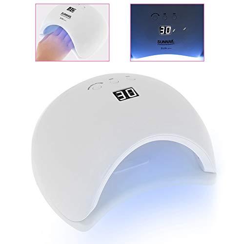 48W LED Nageltrockner, Tragbare UV Lampe für Nägel, Nagellampe mit LCD Display und Timer (30/60/90s), Nagellack Trockner mit 24 Stück Dual Source Lampe Perlen, Geeignet für alle Gel Nägel (Weiß)