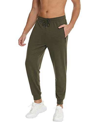 Jogginghose Herren Sportswear-Hosen Outdoor Hosen Trainingshose Jogger Männer Baumwolle Laufhose Sporthose Armeegrün L