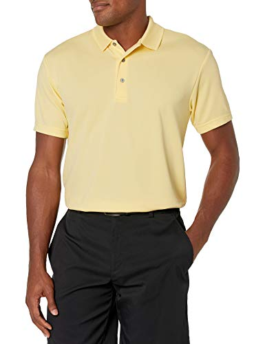 PGA TOUR Men's Airflux Short Sleeve Solid Polo-Shirts, Pale Banana, XL