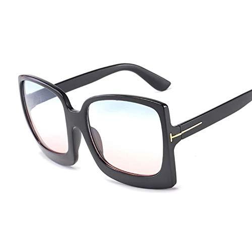NJJX Gafas De Sol Cuadradas De Lujo Para Mujer, Gafas De Sol Graduadas De Gran Tamaño Vintage, Sombras, Moda Femenina, Espejo Negro, Azul, Rosa