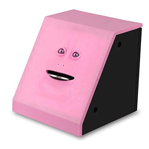 PPuujia Caja de dinero para comer en la cara de Facebank, monedas, caja de dinero para ahorrar monedas para niños, juguetes, regalo para decoración del hogar (color: rosa)