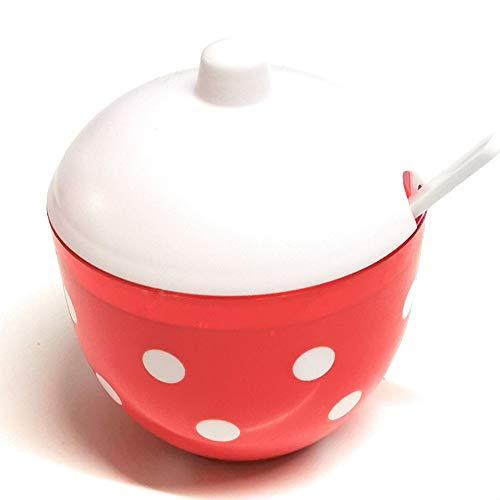 Berossi - Azucarero con cuchara, azucarero y salero utilizable en estilo retro   azucarero con tapa de plástico   Lata para mermelada en set ampliable salero salero salada   punteado rojo