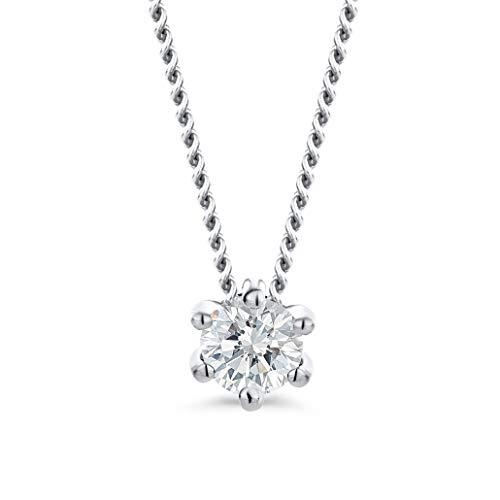 Orovi Damen Diamant Kette Weißgold, Halskette mit Solitär Diamant Anhänger 14 Karat (585) Gold und Diamant Brillanten 0.08 Ct, 45 cm lang Halskette Handgemacht in Italien