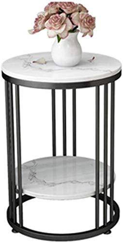 Kleiner Couchtisch JT Runder Marmortisch Exquisite Verarbeitung Kreativer Kleiner Beistelltisch Mini (Color : Schwarz, Size : 50 * 55cm)