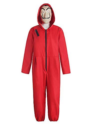 Matt Viggo Haus des Geldes Overall Kostüm Damen Herren Unisex La Casa de Papel Cosplay mit Dalí Maske-Halloween Fasching Karneval, Rot, M (170-175)