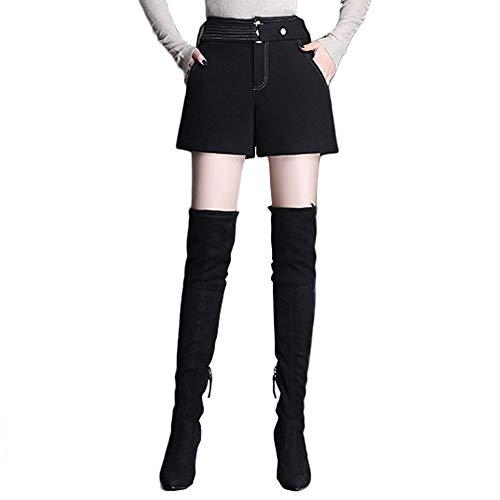 ZSCRL Lässige Wollshorts mit weitem Bein, Oberbekleidung im koreanischen Stil, dünne Stiefelhose mit weitem Bein XXL schwarz