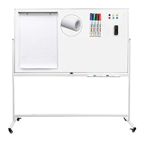 Letusto Double-Sided Magnetic Mobile Whiteboard (72 x 40 Inches) - Easily Portable Board Made of Aluminum Frame and Stand with 5 Great Bonus Accessories Included