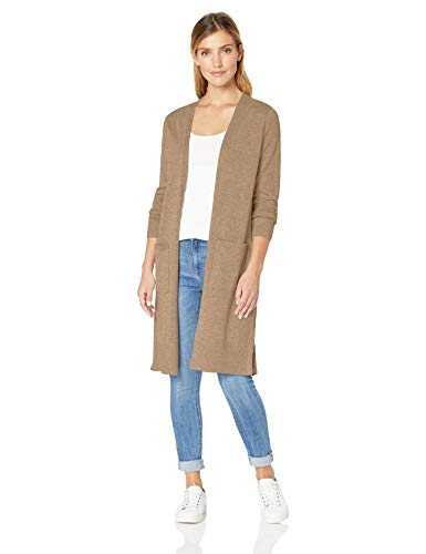 Amazon Essentials Damen-Strickjacke, leicht, längere Länge, Beige (Camel Heather Cam), Small