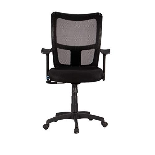 Fort Braio Medium Back | Ergonomic Co polymer Chair | padded seats for work / home / gaming | Ergonomic Medium Back Chair | Office Chair | Work From Home | Study | Breathable mesh Back (Black , fix arm rest), Nylon Base( Black, 360 swivel)