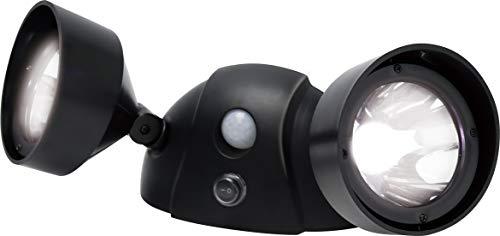 マクロス センサーライト 首振り角度調節 LED 2灯 ソーラー充電 バッテリー 配線 不要 人感センサー 防犯 自動点灯 屋外 玄関 ツインセンサーライト 6W MEL-183