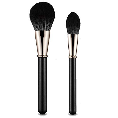 Blush Brush Set 2pcs Perfect for Mineral Powder Blush Blending Makeup Brush Flawless SculptingBuffing Contouring Vegan Cruelty Free