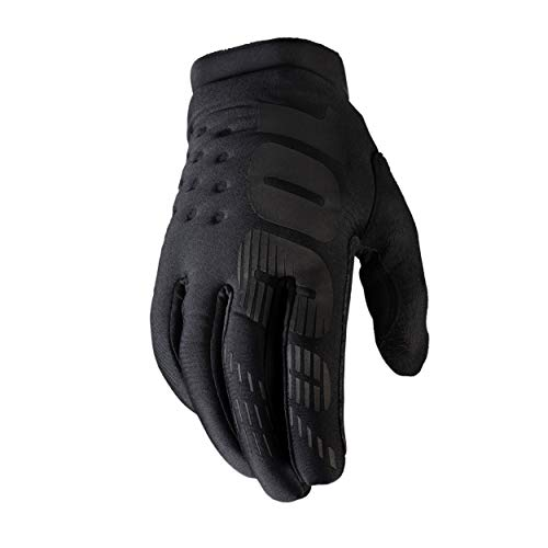 100% Brisker Cold Weather Motocross & Mountain Bike Gloves (LG - BLACK/GREY) MTB & MX Racing Protective Gear - Large