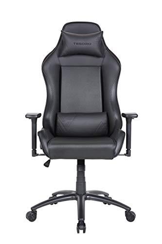 Tesoro Alphaeon S1 Schwarz/Black Gaming Stuhl F715 Gaming Chair Chefsessel Schreibtischstuhl mit PU Kunstleder und Lordosenstütze Lendenkissen Schwarz/Black