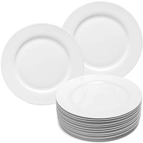 amHomel 12-Piece Perdurable Porcelain Dinner Plates, High Temperature Natural White Dinnerware Dish...