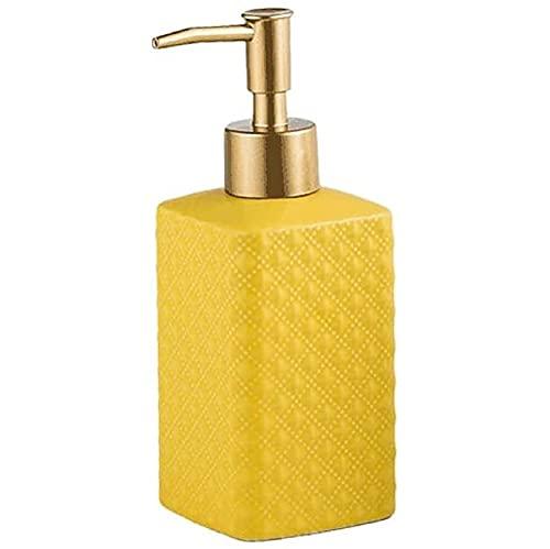 FülleMore Dispensador de jabón de 350 ml, rellenable, dispensador de jabón líquido para baño, cocina, dispensador de jabón líquido para ducha, dispensador de jabón de manos (amarillo)