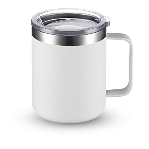 CIVAGO Stainless Steel Coffee Mug Cup with Handle 12 oz Double Wall Vacuum Insulated Tumbler with Lid Travel Friendly White 1 Pack