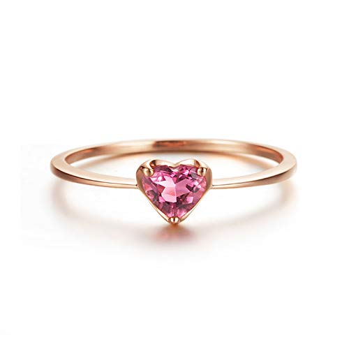 Daesar 750 Rotgold Ring Frauen Rosa Herz Turmaline Partnerring Rosegold Verlobungsring Gr.50 (15.9)