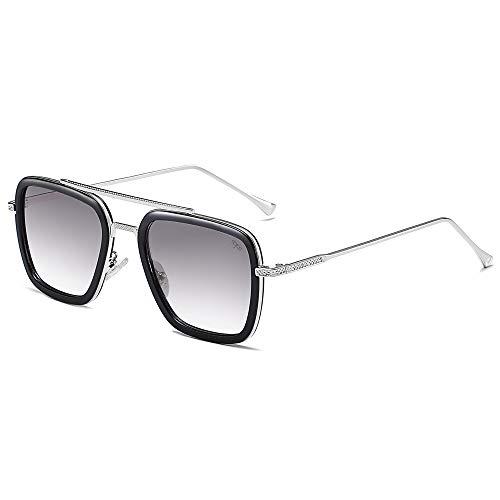 SOJOS Polarisiert Sonnenbrille Klassisch Piloten Sonnenbrille Fliegerbrille Legierung Rahmen Tony Stark Hero SJ1126 mit Tony Stark Sonnenbrille