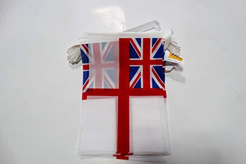 AZ FLAG Guirnalda 6 Metros 20 Banderas de la Marina Real BRITANICA 21x15cm - Bandera DE LA Royal Navy - UK 15 x 21 cm - BANDERINES