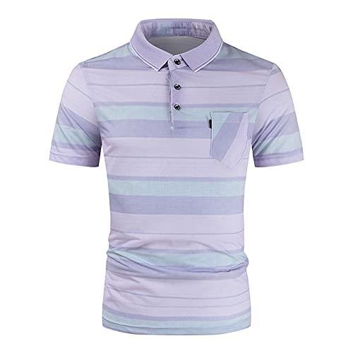 Yowablo Polo T-Shirt Top Blouse Hommes Été Slim Casual Fit Patchwork Manches Courtes (XL,9rose)