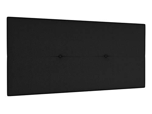 LA WEB DEL COLCHON Cabecero de Cama tapizado Acolchado Juvenil Julie 115 x 55 cms. para Camas de 80, 90 y 105 cms. Polipiel Color Negro. Incluye herrajes para Colgar con regulador de Altura