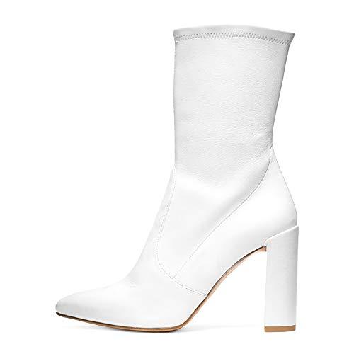 XER dames laarzen, stijlvolle eenvoud lederen laarzen met hoge hak enkel laarzen maat 34-46 voor Fancy jurk partij