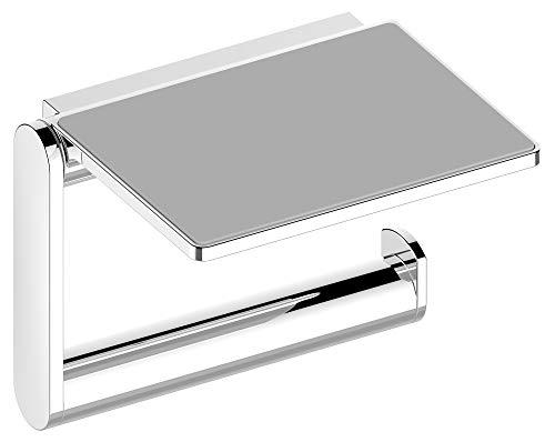 KEUCO Toilettenpapierhalter aus Metall hochglanz-verchromt, Ablage, Anti-Rutsch-Einlage, WC-Rollenhalter für Badezimmer und Gäste-WC, Plan