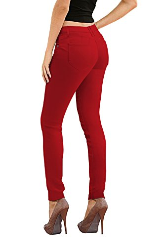 Women's Butt Lift Stretch Denim Jeans P37385SK RED 1