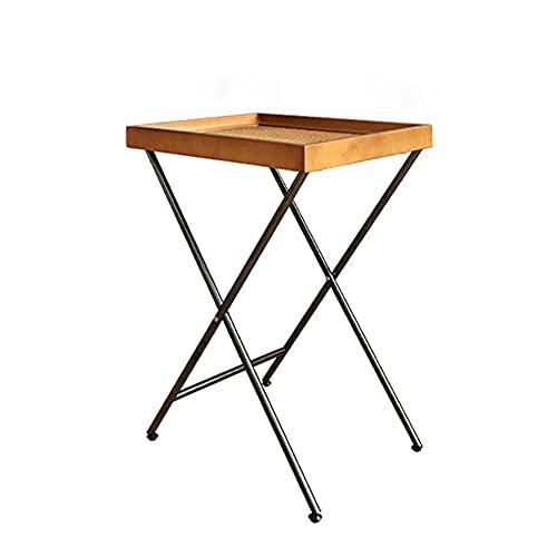 FUFU Mesas auxiliares Mesa a la lateral con escritorio tejido a mano, mesa lateral de la bandeja de metal, mesa de café de la mesa de café para sala de estar, sofá, dormitorio, balcón, oficina y espac
