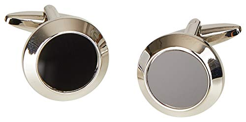 Manschettenknöpfe von Wilvorst, rund, silberfarben mit schwarzer Einlage