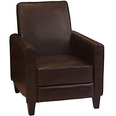 Great Deal Furniture Lucas Brown Leather Modern Sleek Recliner Club Chair