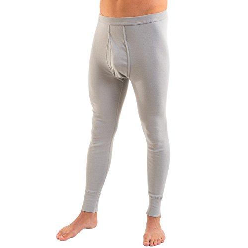 HERMKO 3540 Herren Lange Unterhosen mit Eingriff und Weichbund aus 100% Bio-Baumwolle in Feinripp, Größe:D 7 = EU XL, Farbe:grau