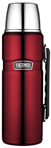 THERMOS Thermoskanne Edelstahl Stainless King, Edelstahl rot 1,2L, Isolierflasche mit Trinkbecher 4003.248.120 spülmaschinenfest, Thermosflaschehät 24 Stunden heiß, 24 Stunden kalt, BPA-Free