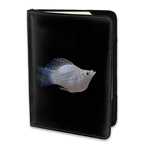 Titular de Pasaporte Common White Molly Fish Fondo Negro Cuero de PU Cartera de Viaje Estuche para Pasaporte Fundas para Pasaporte 5.5 Pulgadas