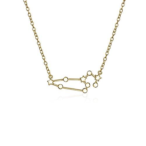Astro Astrologie Sternzeichen Löwe Sternbild Sterne Halskette Für Damen Jugendlich 14 Kt Vergoldet Sterling Silber