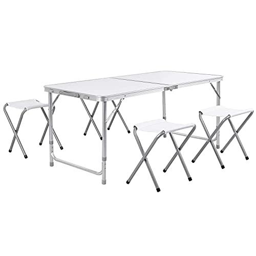 Tavolo da campeggio pieghevole Tavolo da giardino con 4 sedie Tavolo per VacanzaTavolo portatile in alluminio, regolabile in altezza 120x60cm (Bianco)