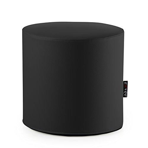 CAB Pouf rond en simili cuir pour assise ou repose-pieds Avec housse équipée d'une fermeture Éclair Polyuréthane indéformable 44 x 42 cm - Noir