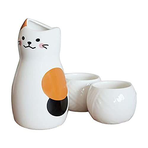 QJN Set de sake con calentador, juego de vino de cerámica personalizado lindo gato en forma de sake Pot bola de pelo Copa vino Set caja de regalo gabinete de vino decoración una olla dos tazas